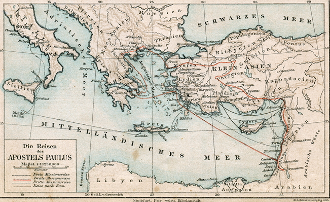 새 언약 유월절, 사도바울의 전도여행 지도